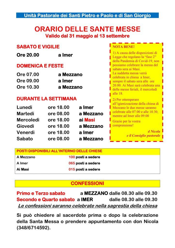 Orari Sante Messe estate 2020 Imèr e Mezzano