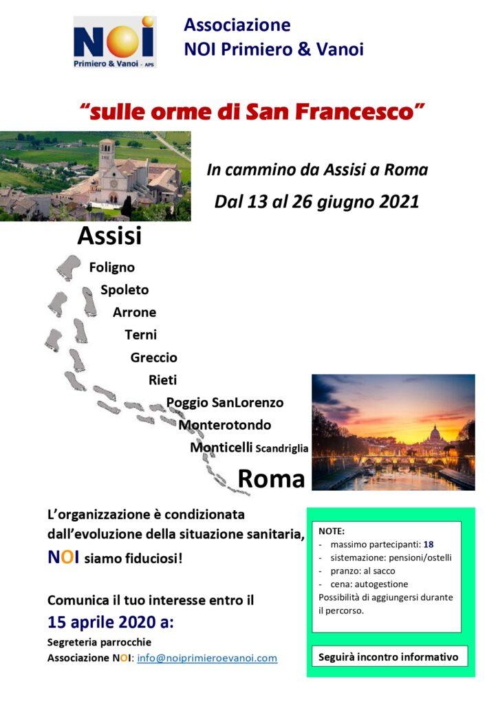 Sulle orme di San Francesco 2021 - con NOI - sondaggio di interesse